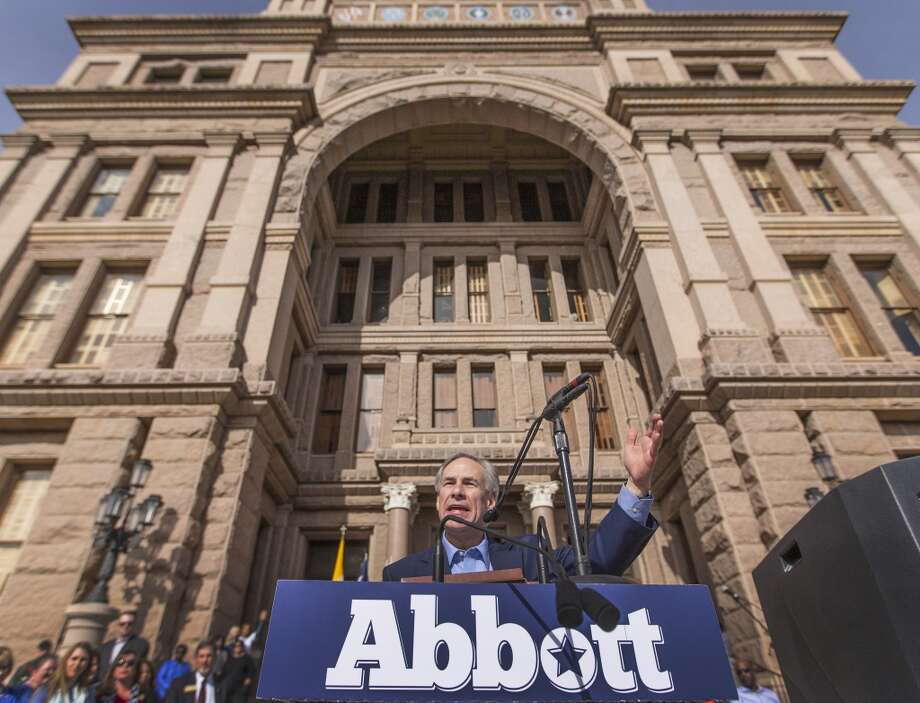 Texas Attorney General Greg Abbott speaks to thousands of pro-life Texans on the south steps of the Texas State Capitol on Saturday, Jan. 25, 2014.   (AP Photo/Austin American-Statesman, Ricardo B. Brazziell) Photo: Associated Press