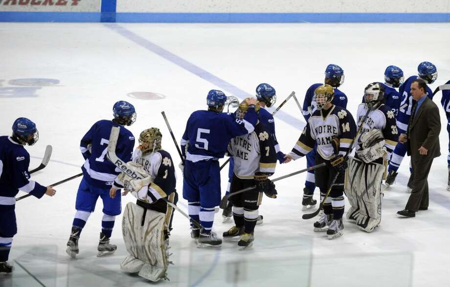 Highlights from the boys ice hockey Division I semifinals between Darien and Notre Dame-Fairfield Wednesday, Mar. 19, 2014, at Ingalls Rink in New Haven, Conn. Photo: Autumn Driscoll