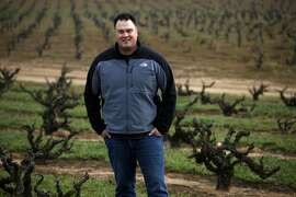 Winemaker Tegan Passalacqua stands in a vineyard of Mataro and Zinfandel, Wednesday March 5, 2014, in Oakley, Calif. Passalacqua, who works for Turley vineyards is starting his own label called, Sandlands, because he some of his wines come from old vines are planted in a sandy soil.