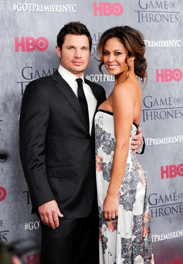 "Television personalities Nick Lachey and wife Vanessa Lachey attend HBO's ""Game of Thrones"" fourth season premiere at Avery Fisher Hall on Tuesday, March 18, 2014 in New York. Photo: Evan Agostini, Associated Press"