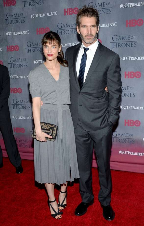 "Actress Amanda Peet with husband creator and executive producer David Benioff attend HBO's ""Game of Thrones"" fourth season premiere at Avery Fisher Hall on Tuesday, March 18, 2014 in New York. Photo: Evan Agostini, Associated Press"