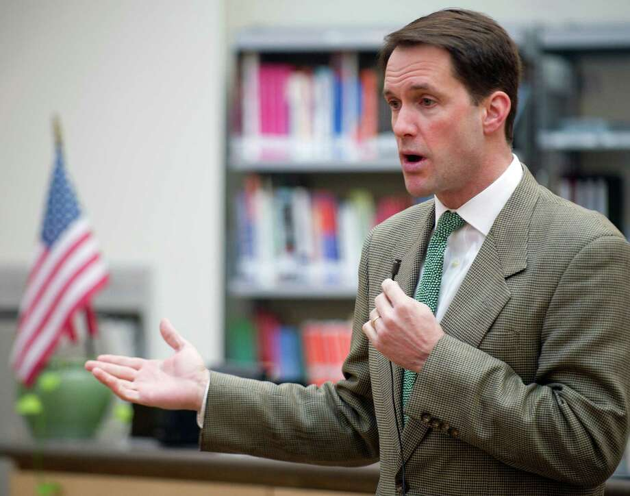 Rep. Jim Himes speaks to students at the Academy of Information Technology & Engineering for the annual Capitol Hill Challenge hosted by the Securities Industry and Financial Markets Association Foundation on Thursday, March 20, 2014. Photo: Lindsay Perry / Stamford Advocate