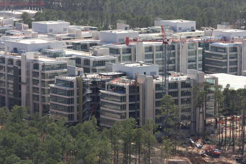 February 2014: The new Exxon Mobil corporate campus is under construction near The Woodlands. The ne