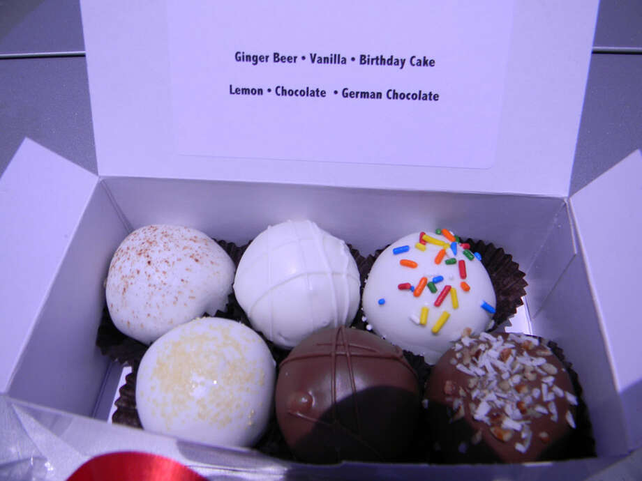 A sampler of six of the most popular cake balls made by Angie's Cake. Photo: Paul Galvani