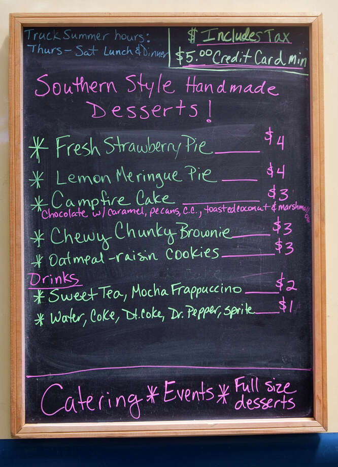 The menu for the food truck Porch Swing Desserts. Photo: Cody Duty, Houston Chronicle / © 2012 Houston Chronicle
