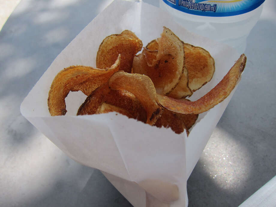 House-made potato chips as served by Good Dog Hot Dog. Photo: Alison Cook, Houston Chronicle