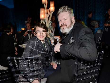 Actors Isaac Hempstead Wright, left, and Kristian Naim attend HBO's 'Game of Thrones' fourth season premiere after party at the Museum of Natural History on Tuesday, March 18, 2014 in New York. Photo: Evan Agostini, Associated Press