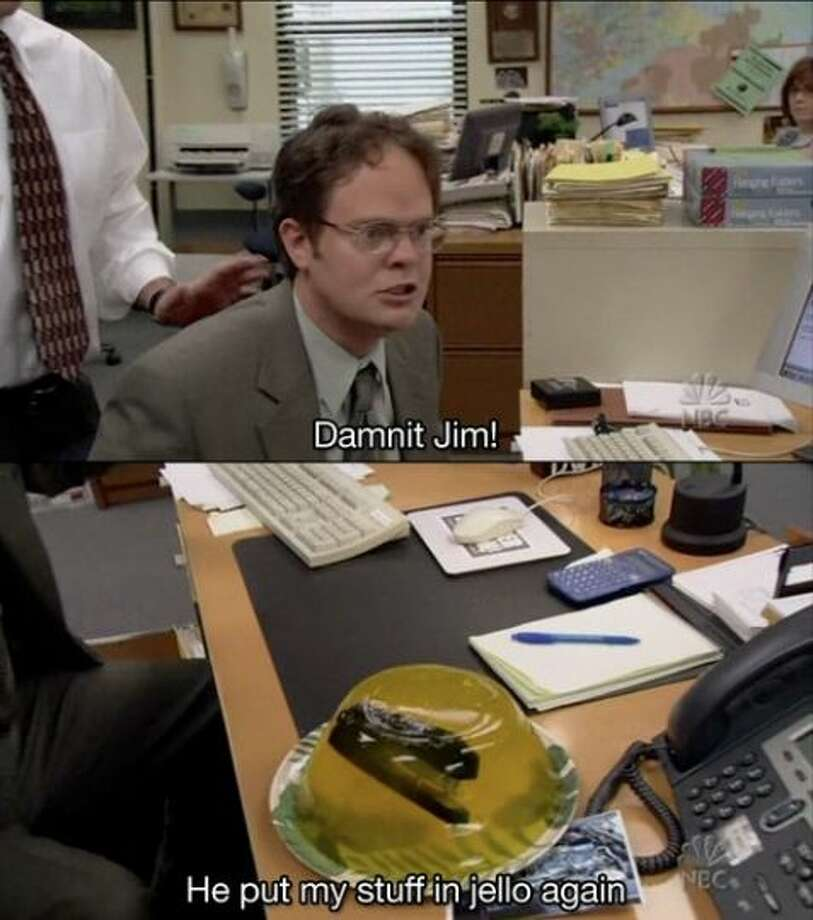 Need some ideas for April Fools' Day? Check out these 15 hilarious pranks from The Office:15. The classic stapler in Jello trick.