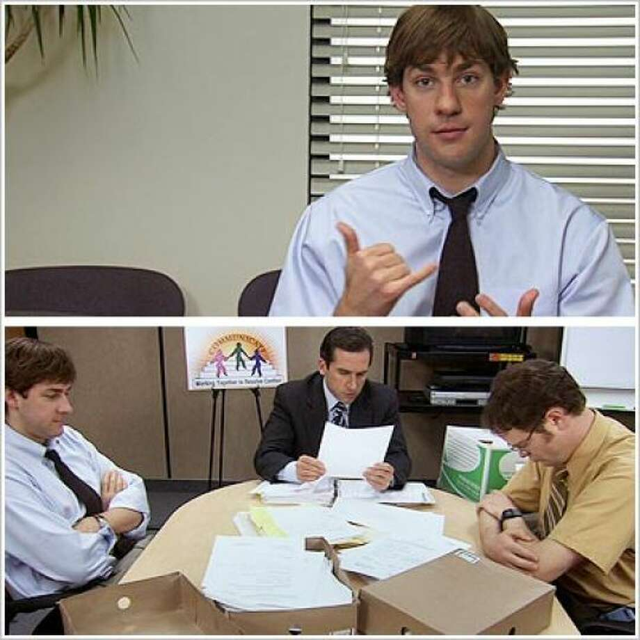 "9. Dwight: ""This morning, I knocked myself in the head with the phone."" Jim : ""That actually took a while. I had to put, uh, more and more nickels into his handset, till he got used to the weight, and then I just... took 'em all out."""
