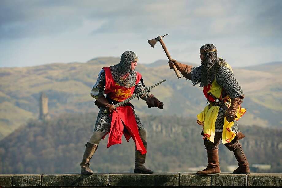 Next time on 'Game of Thrones' ... Robert the Bruce (Roy Ramsay) and Edward II (Roy Murray) engage in a mock duel to 