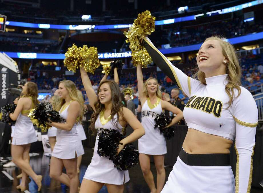 Colorado cheerleaders perform before the start of a second-round game in the NCAA college basketball tournament against Pittsburgh Thursday, March 20, 2014, in Orlando, Fla. (AP Photo/Phelan M. Ebenhack) Photo: Phelan M. Ebenhack, Associated Press / AP