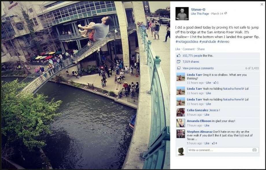 """Jackass"" star Steve-O performs a backflip off the Commerce Street bridge at Rivercenter mall in San Antonio. (Facebook)"