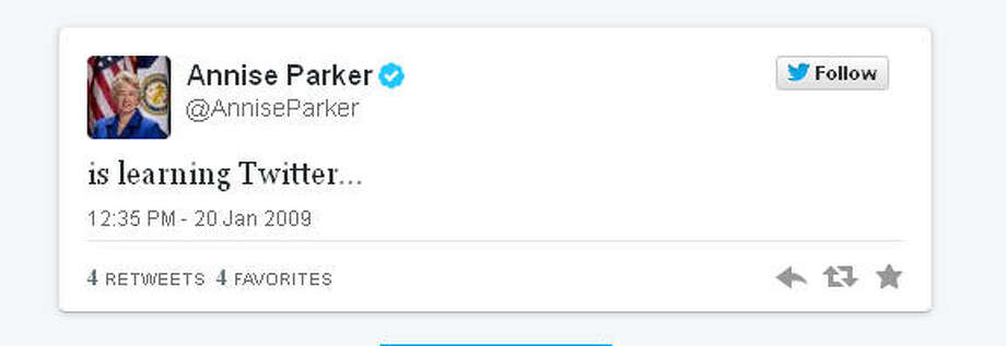 Mayor Annise Parker's first tweet, after she became the mayor of Houston.