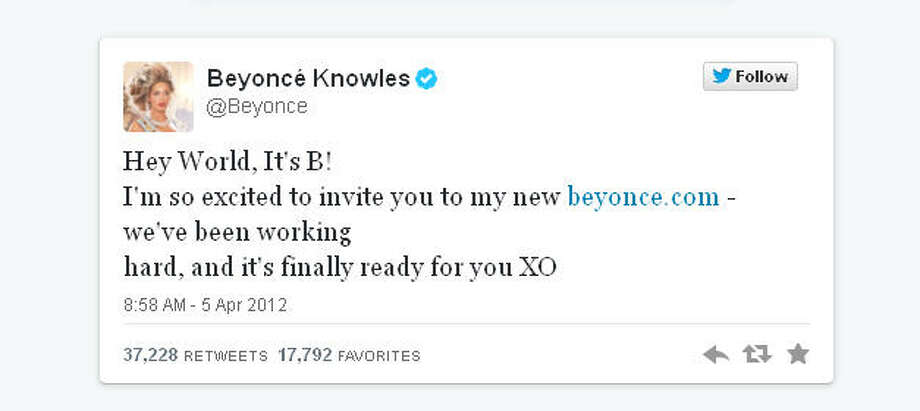 Beyonce joined Twitter in April 2012 and gained millions of followers overnight.