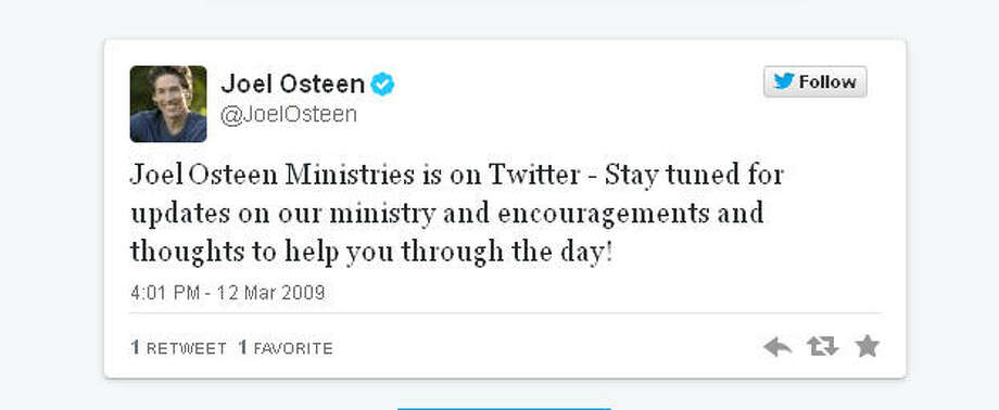 Pastor Joel Osteen probably doesn't tweet from here himself.