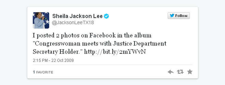 Fittingly, Sheila Jackson Lee began Twitter by telling us about the people she meets.