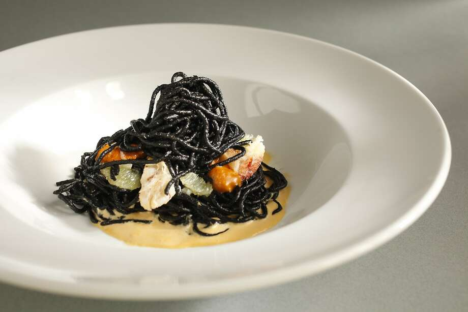 Squid Ink Spaghetti With Uni, Dungeness Crab & Lime (Timmmy Malloy, Local's Corner) as seen in San Francisco, California on Thursday March 13, 2014. Food styled by Calvin Rouse, III. Photo: Craig Lee, Special To The Chronicle