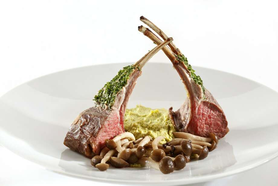 Rack of Lamb With English Pea Puree & Mushroom Confit Photo: Craig Lee, Special To The Chronicle