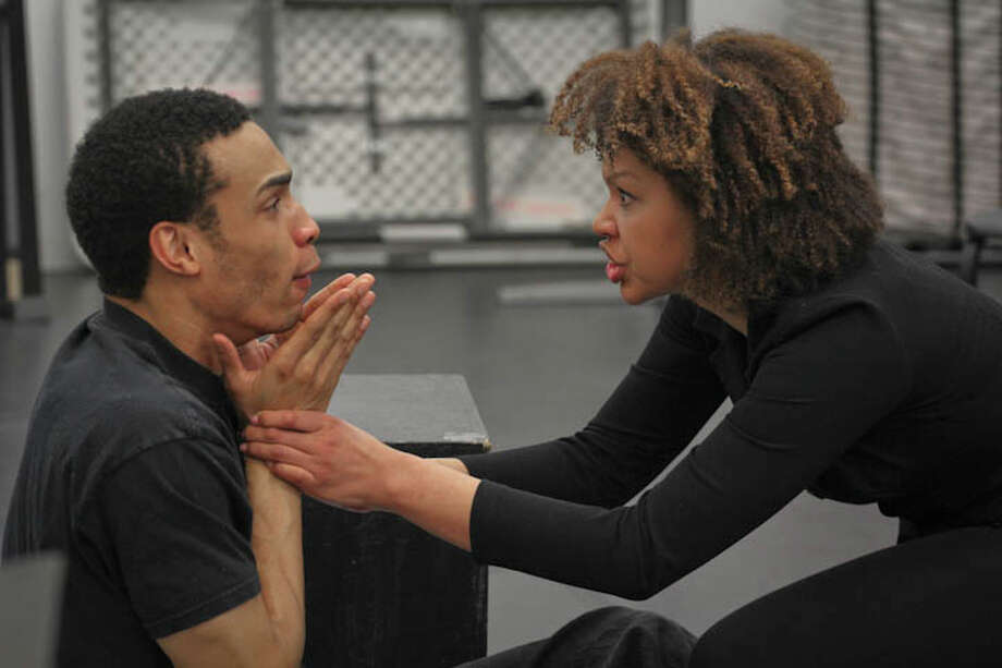 """Elijah Martinez and Chalia La Tour rehearse a scene from """"We Fight We Die"""" at the Yale Cabaret March 27 to 29. The play explores the life and work of an """"elusive graffiti artist"""" known only as """"Q."""" Photo: Contributed Photo / Connecticut Post Contributed"""