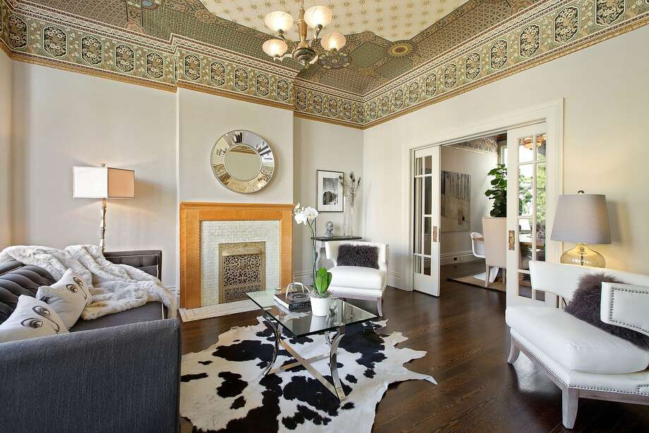 The Victorian at 169 Beulah St. in S.F.'sCole Valley features a double parlor with hand-printed Bradbury & Bradbury ceilings. Photo: OpenHomesPhotography.com