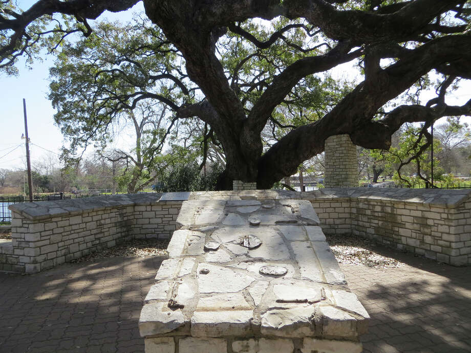 Three bronze markers by Founders' Oak in Landa Park were among eight memorial plaques stolen since last week in New Braunfels. Thieves pried one plaque off the pedestal in the foreground and another, smaller one from the wall in the background, damaging the wall near the 300 year-old tree in the process. Photo: Zeke MacCormack, San Antonio Express-News / San Antonio Express-News