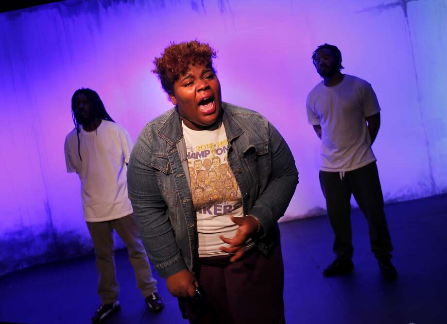 """RAW poet-actor Tassiana Willis rehearses her role as Mama Hall, a resident of a housing project, in """"This Is Home."""" Photo: Brant Ward, The Chronicle"""