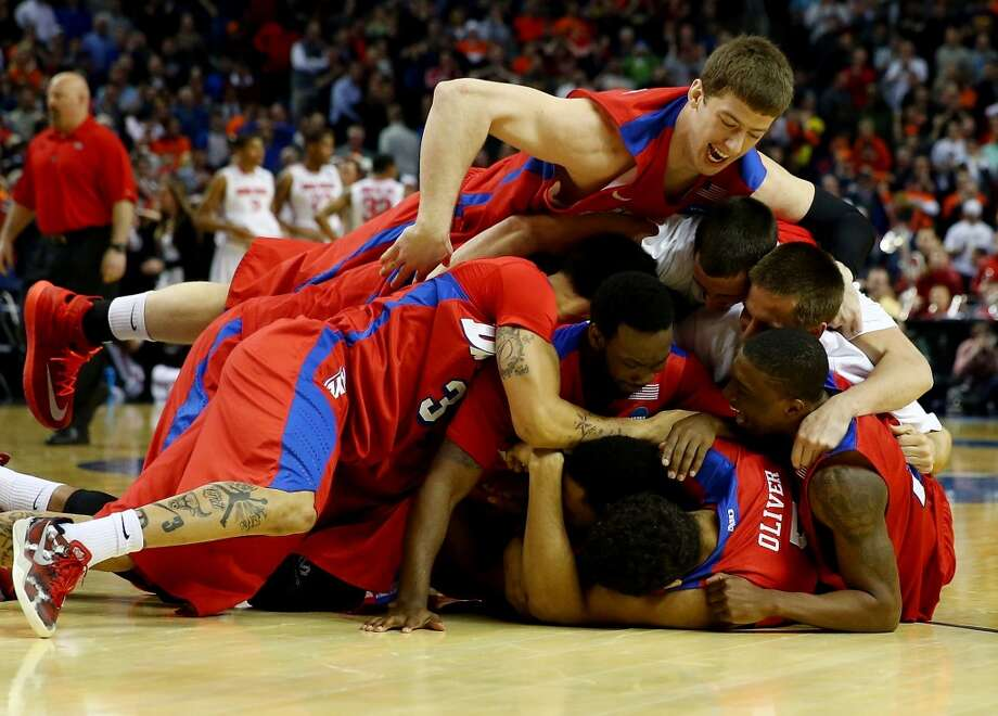 Second round March 20: No 11 Dayton 60, No. 6 Ohio State 59 The Dayton Flyers celebrate after their upset of the Buckeyes. Photo: Elsa, Getty Images