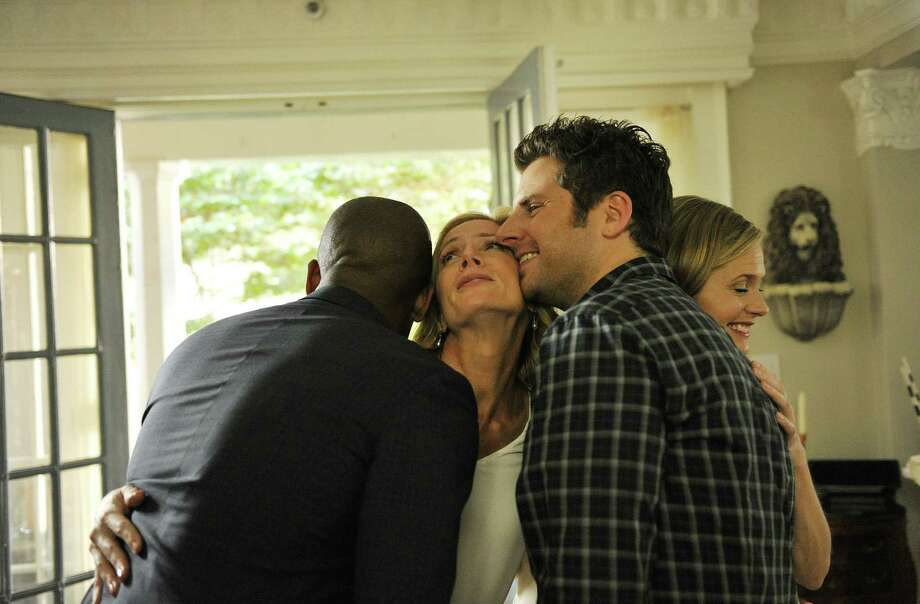 """Psych's"" farewell is a funny, moving and satisfying end to the long-running series as sleuthing pals Gus (Dule Hill) and Shawn (James Roday) hug it out with their police cohorts (Kirsten Nelson and Maggie Lawson). Photo: Alan Zenuk / USA Network / 2013 USA Network Media, LLC"