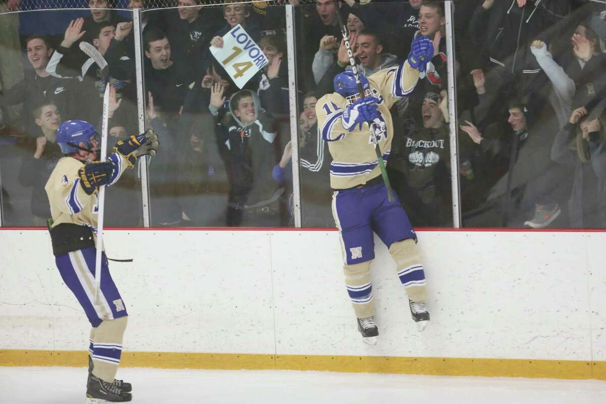 Newtown High School's #10 Matt Sabia (right) celebrates after giving an assist on goal during Friday evening's SWC/ SCC Division 1 hockey championship against New Fairfield / Immaculate . New Fairfield / Immaculate would win 2-1.