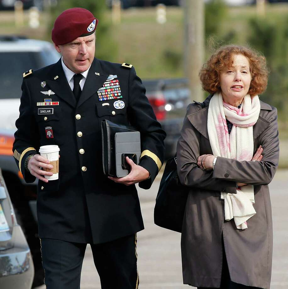 Brig. Gen. Jeffrey Sinclair arrives at the courthouse with attorney Ellen Brotman. This case exemplifies the need for commanders to be removed from authority in military sexual assault cases. Photo: Ellen Ozier, Associated Press / FR171091 AP