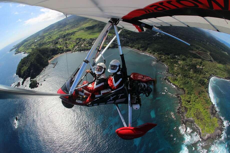 Allan and Susan Katz of Napa on a hang gliding adventure at Hana, Maui