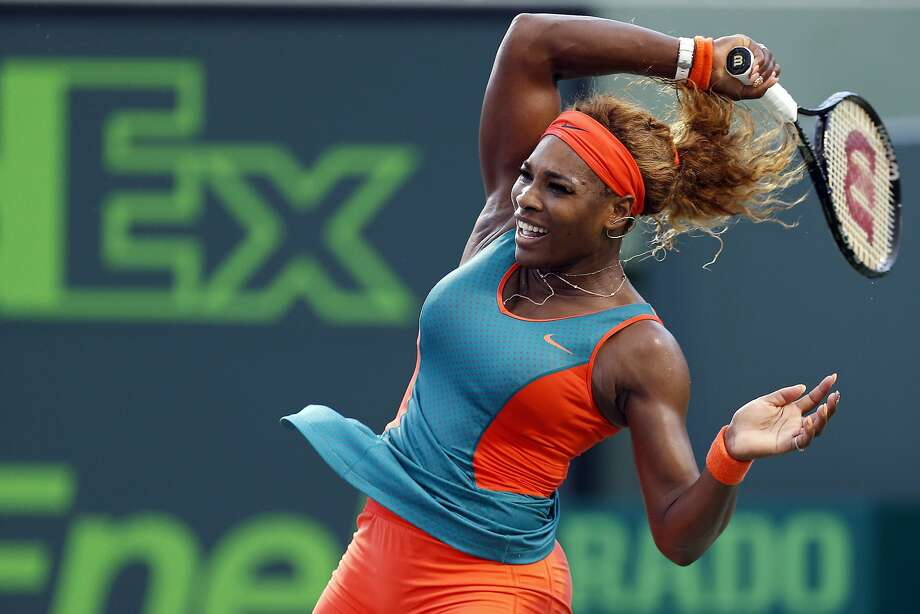 Serena Williams struggled in the first set but won in straight sets in Florida. Photo: Geoff Burke, Reuters