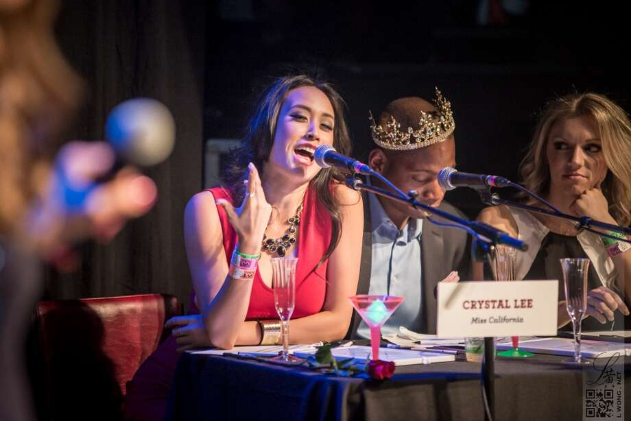 Judge Crystal Lee, who also happens to be Miss California, takes her turn at the mic. Photo:  Larry Wong Photography