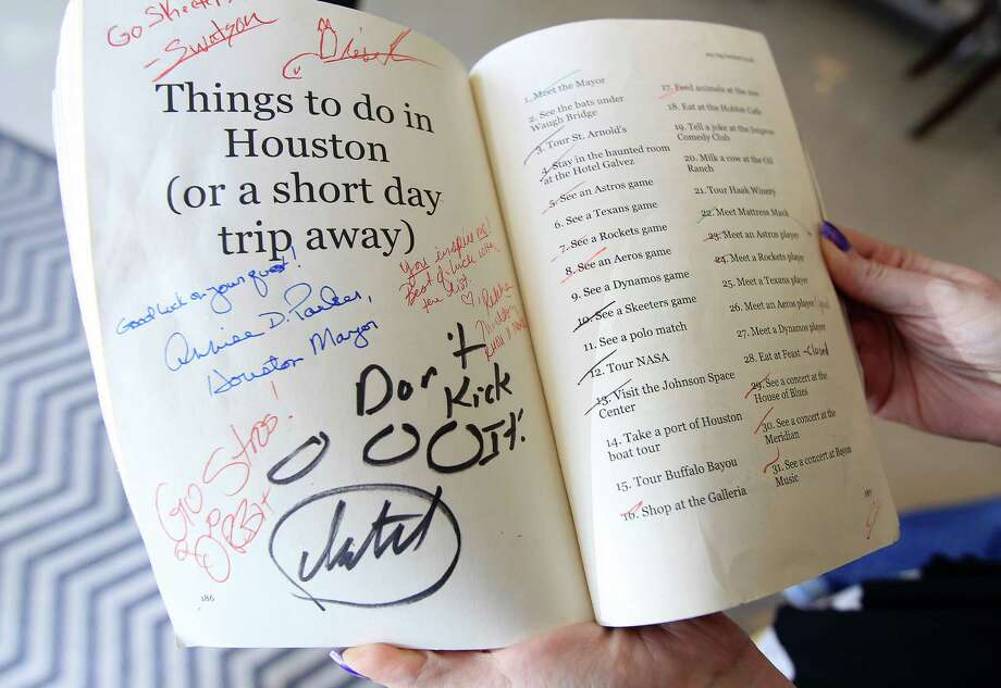 Detail of Marsha K. Rogers' own bucket list book, with a list of 38 personal goals and interesting things around Houston. Photo: Karen Warren, Houston Chronicle / © 2014 Houston Chronicle