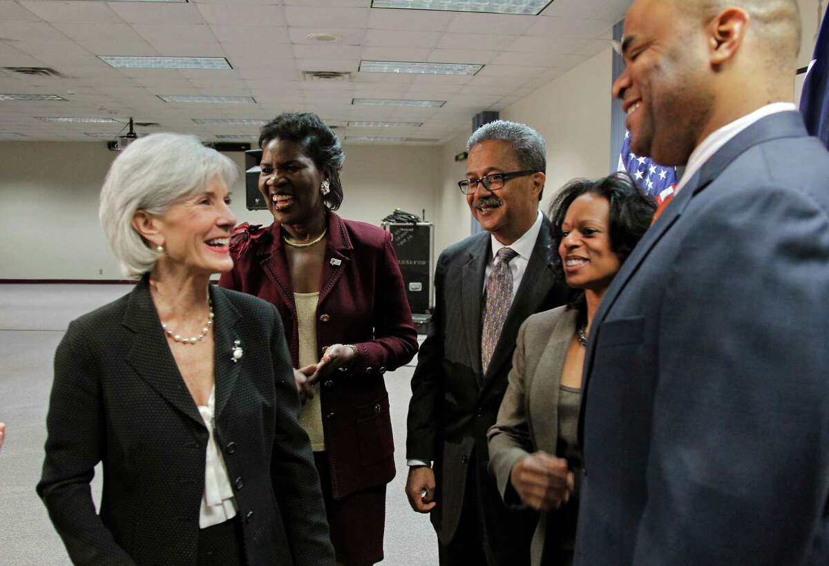 U.S. Secretary of Health and Human Services Kathleen Sebelius, left, was at Tarrant County College South on Thursday urging people to sign up for health care.