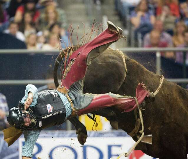 Tag Elliott competes in the BP Super Series Semifinal 2 Bull Riding competition during Houston Lives