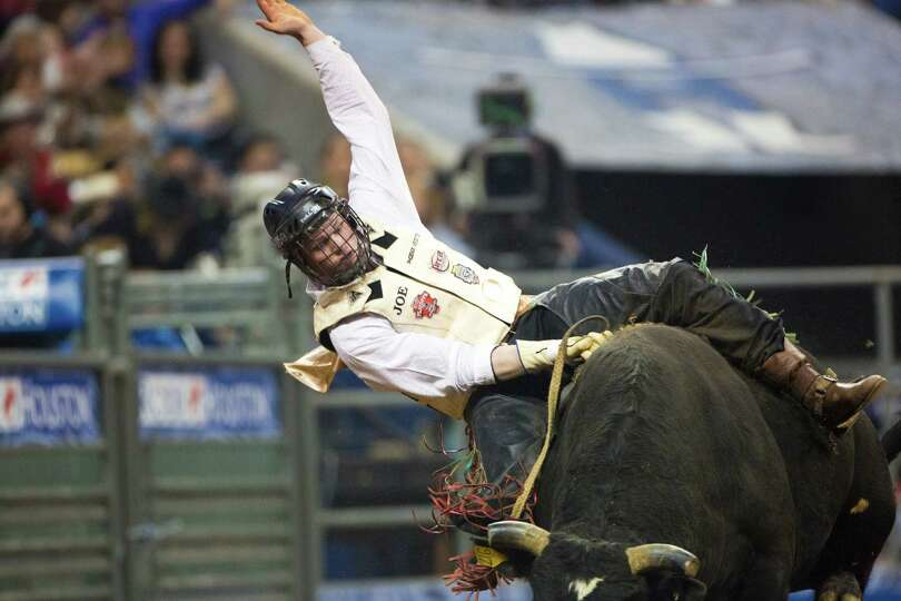 Joe Frost competes in the BP Super Series Semifinal 2 Bull Riding competition during Houston Livesto