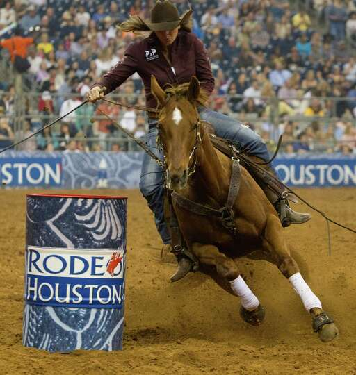 Kelli Thouvenell competes in the BP Super Series Semifinal 2 Barrel Racing competition during Housto