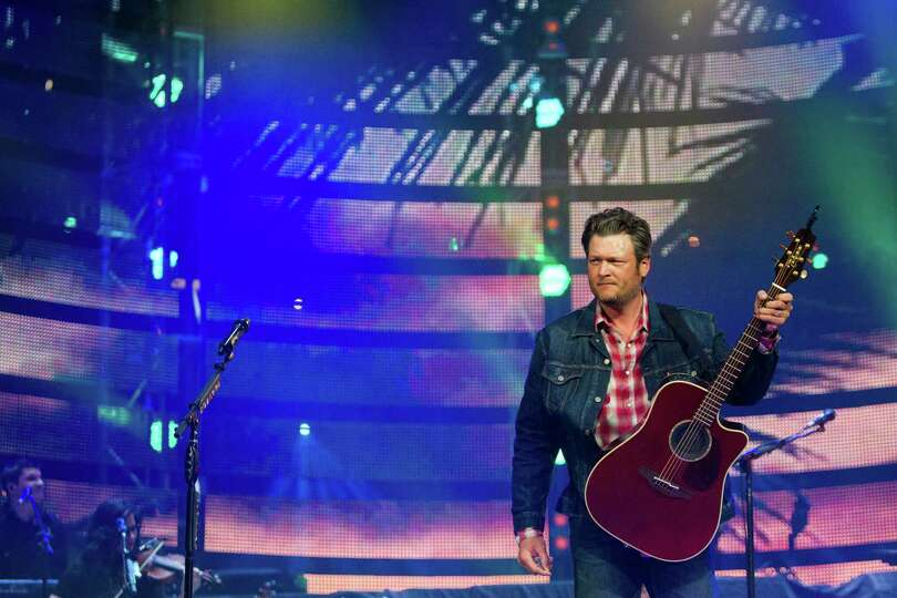 Blake Shelton performs at Reliant Stadium during the Houston Livestock Show and Rodeo, Thursday, Mar