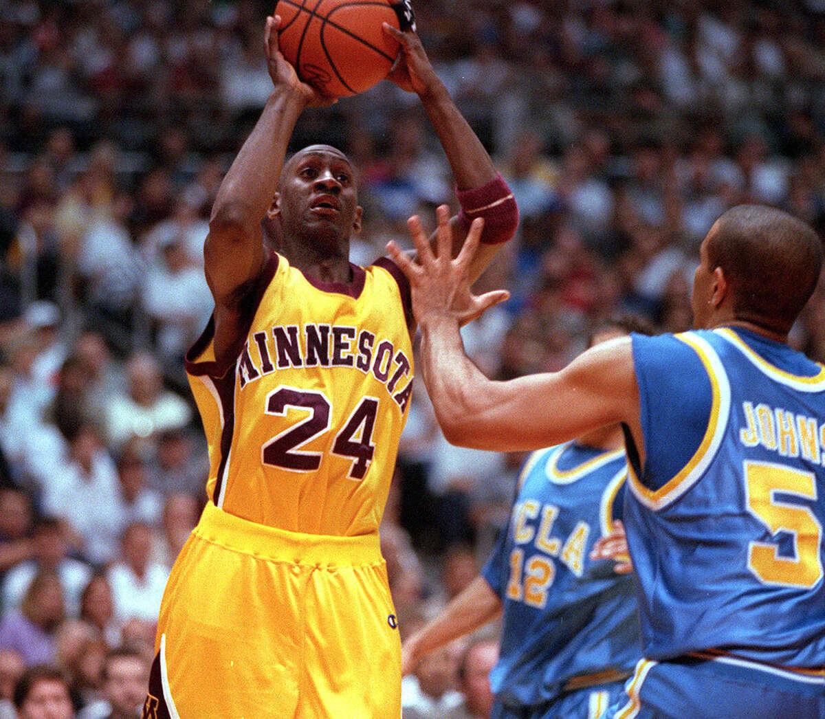 1997 Midwest RegionalSemifinals: Minnesota 90, Clemson 84; UCLA 74, Iowa State 73 - Both went to overtime, with the top-seed Gophers needing two of them to beat Clemson. Bobby Jackson scored a career-high 36 points and Sam Jacobson had 29 for Minnesota. Cameron Dollar's bank shot with 1.9 seconds left game him 20 points and UCLA a win over the Cyclones. Final: Minnesota 80, UCLA 72 - The Gophers overcame a 10-point deficit in the final 13 minutes to advance to the Final Four, but NCAA sanctions for academic fraud wiped it all from official existence. Attendance: Semis (29,231); final (31,930)Photo: Bobby Jackson's scoring helped take Minnesota to the Final Four in 1997.