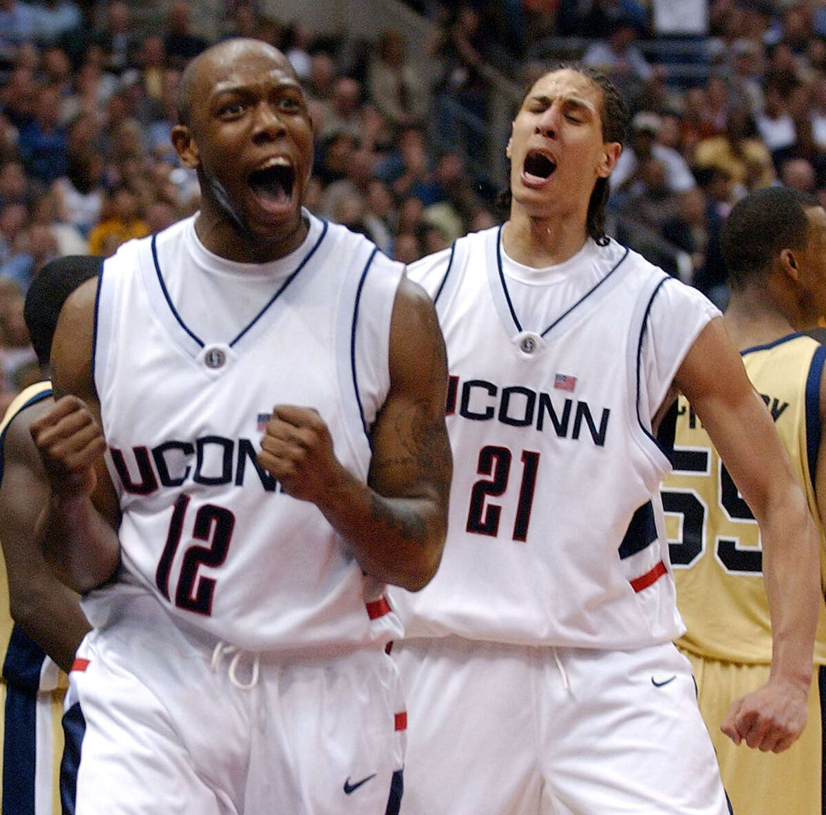UConn's Taliek Brown (12) and Josh Boone (21) won the 2004 title game.
