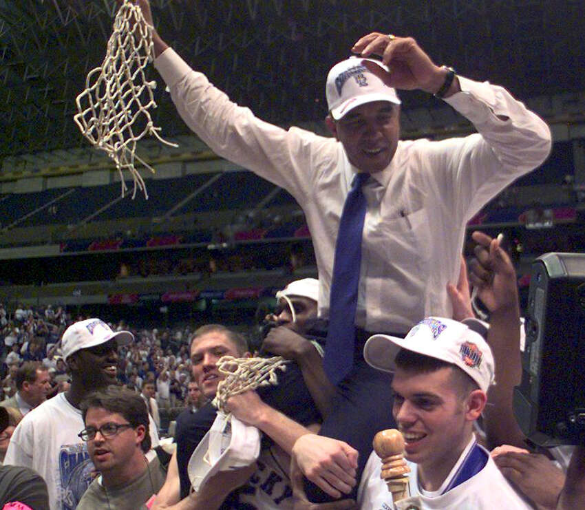 1998 Final FourSemifinals: Utah 65, North Carolina 59; Kentucky 86, Stanford 85 (OT) - Jeff Sheppard's 27 points helped Kentucky survive overtime. The Utes, an 81/2-point underdog, let a 13-point lead slip to two at the 1:57 mark, but held on. Final: Kentucky 78, Utah 69 - This time, Utah let the lead (41-31 at halftime) slip away, as Kentucky won its second title in three seasons. Attendance: Semis (40,509); final (40,509)Photo: Kentucky players lift coach Tubby Smith after winning the 1998 title.