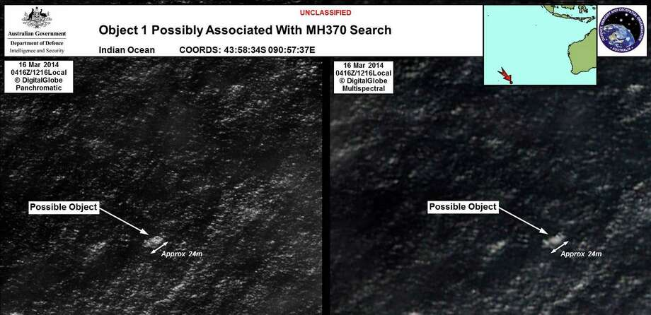 A satellite image shows one of the two objects that officials say could possibly be related to Malaysia Airlines Flight 370. Photo: Australian Maritime Safety Authority / New York Times / Australian Maritime Safety Autho