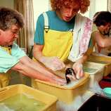 Volunteers bathing birds fouled by Exxon Valdez oil spill with dish detergent among household products being used in clean-up.