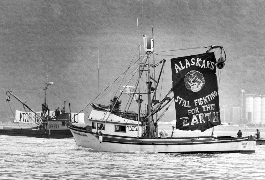 About 25 fishing boats circled off shore from the Alyeska Pipeline terminal in Valdez, Alaska, Sept. 9, 1989 protesting the use of foreign tankers to transport oil from Valdez, the methods used in cleaning oiled beaches in Prince William Sound and the oil industry's failure to address safety problems which the fishermen believed caused the Exxon Valdez oil spill. The protest was organized by the Cordova District Fishermen Union. Photo: Al Grillo, ASSOCIATED PRESS / AP1989