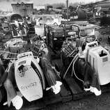 The container dock in Valdez harbor is being used as a collection point for the massive amount of equipment used during the Exxon Valdez oil spill cleanup operations in Prince William Sound in Valdez  Sept. 14, 1989.