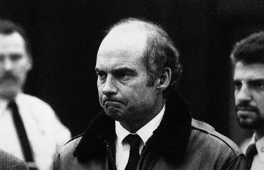 Capt. Joseph Hazelwood of the Exxon Valdez surrenders to the court in Hauppauge, N.Y. for arraignment after which he was taken to the county jail in Riverhead, Long Island, April 5, 1989. Hazelwood was eventually convicted on charges of negligent discharge of oil. He never had his masters license revoked. Photo: Dick Yarwood, ASSOCIATED PRESS