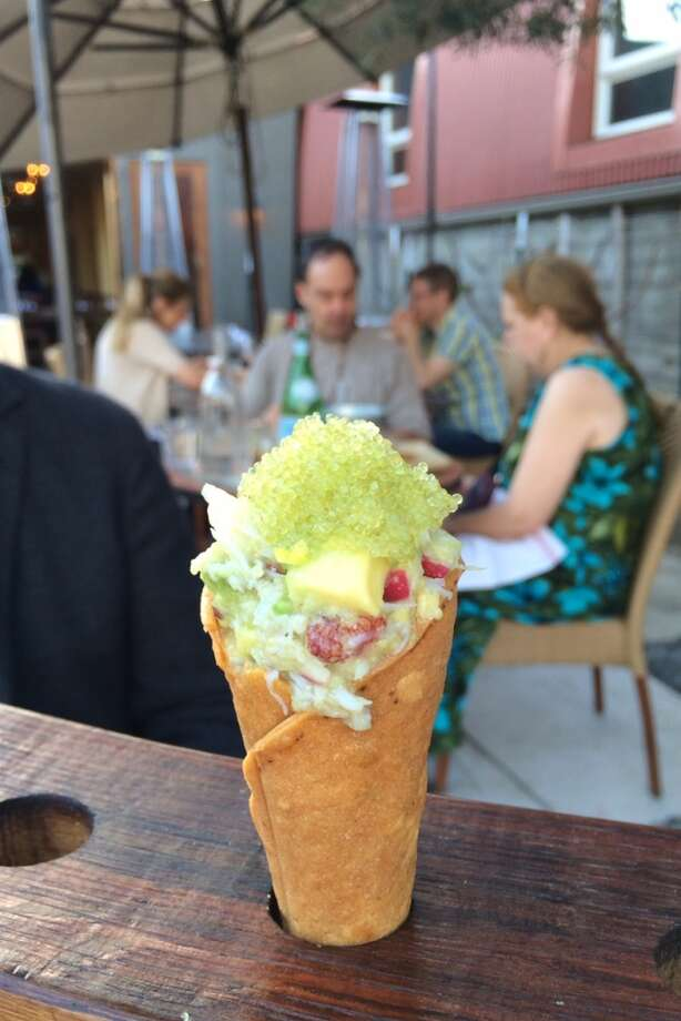 Mateo's in Healdsburg: Tacone, tortilla cone with seafood ($6)