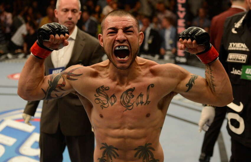 LAS VEGAS, NV - JULY 06: Cub Swanson reacts to his victory over Dennis Siver in their featherweight fight during the UFC 162 event inside the MGM Grand Garden Arena on July 6, 2013 in Las Vegas, Nevada.