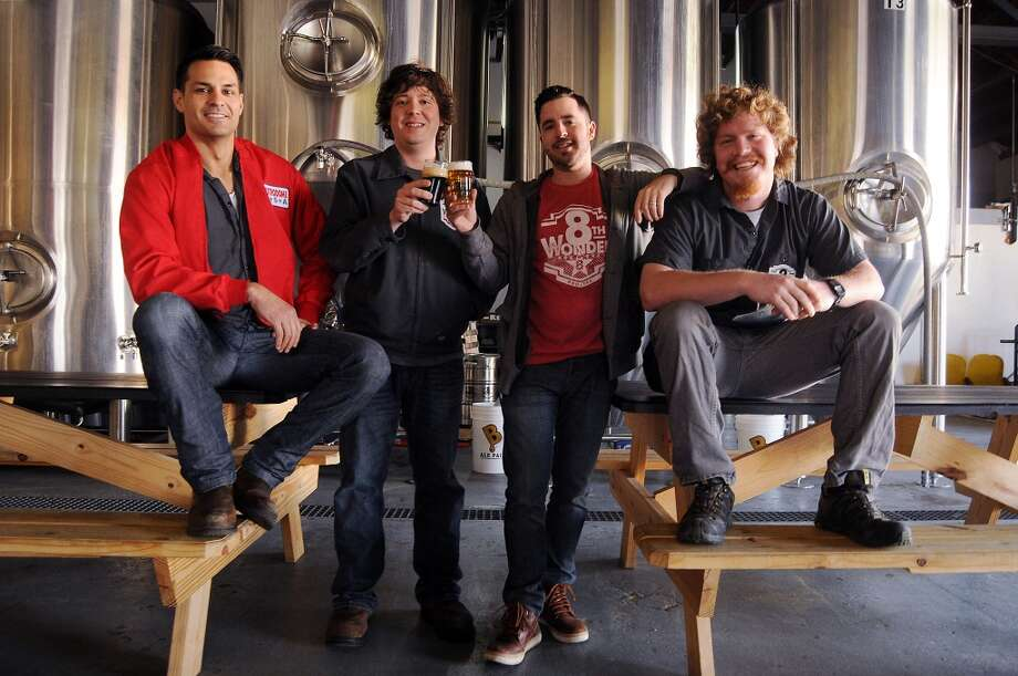 From left: The team at the 8th Wonder Brewery on Dallas St. Thursday March 6, 2014.From left: Alex Vassilakidis, Aaron Corsi, Ryan Soroka and Jack Nugent. Not pictured is Robert Piwonka. (Dave Rossman photo) Photo: Dave Rossman, For The Houston Chronicle